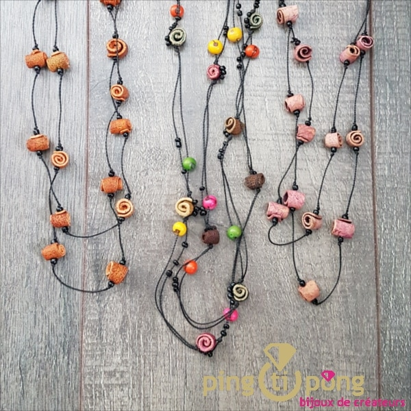 Green Age Calade necklace in orange skin mix of colors-0