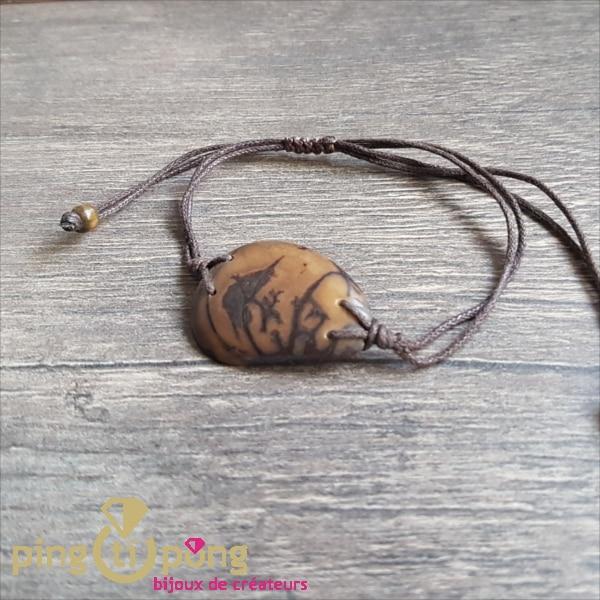 BIjou nature : Bracelet tagua marron GREENAGE