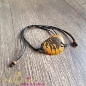 Bracelet en noix de tagua (ivoire végétal) jaune et coton -0