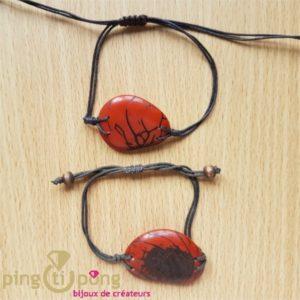 Bracelet en noix de tagua zébrée (ivoire végétal) orange et coton -0