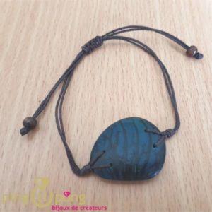 Bracelet en noix de tagua - ivoire végétal - bleu turquoise-0