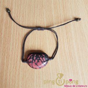 Bracelet en noix de tagua zébrée rose GREEN AGE-0
