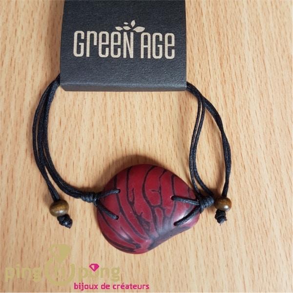 Bracelet en noix de tagua - ivoire végétal rouge lie de vin-0