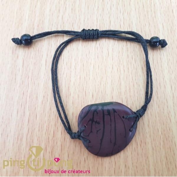 Bracelet en noix de tagua et coton violet -0