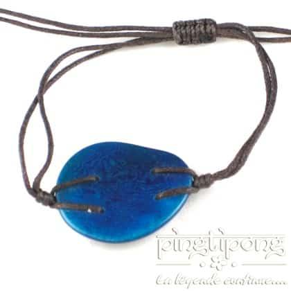 bracelet en noix de tagua Green Age bleu turquoise