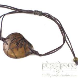 Bracelet en noix de tagua (ivoire végétal) beige et coton -0