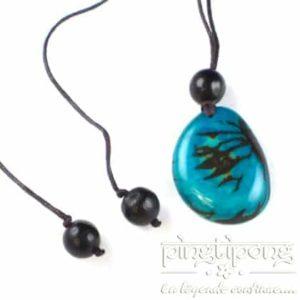 Collier écologique Green-Age original en tagua turquoise-0