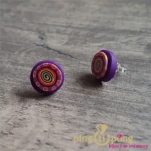 Bijoux fantaisie : Boucles rondes spirale violet en résine de PASTACUITA