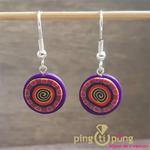 Bijoux originaux : Boucles longues spirale violet PASTACUITA