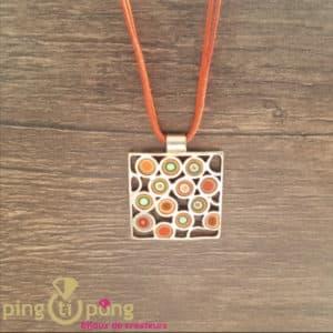 Collier lacette motif vintage orange PASTACUITA