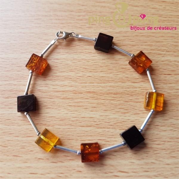 Bracelet en pavés d'ambre et perles en argent de Balticambre-0