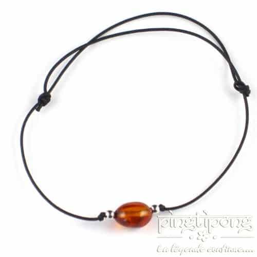 bracelet lacette ambre et argent