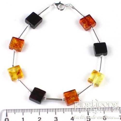 bracelet carré 8x8 en ambre et argent