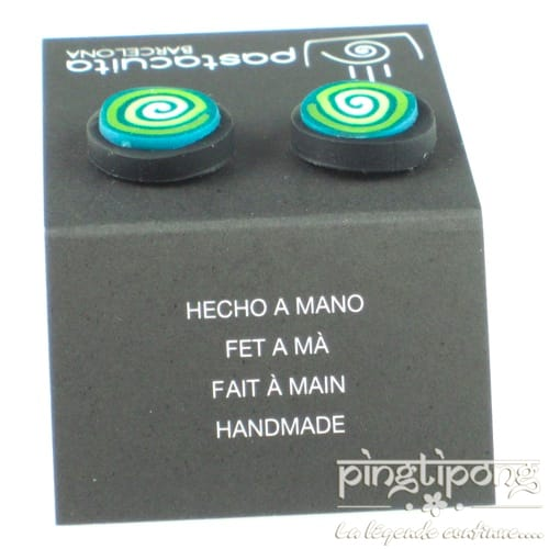 round earrings Pastacuita green spiral