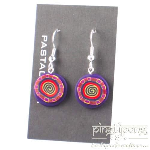 Boucles d'oreilles Pastacuita spirale rondes pendantes violettes-0