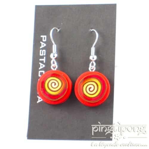 Boucles d'oreilles pendantes Pastacuita spirale rondes orange-0