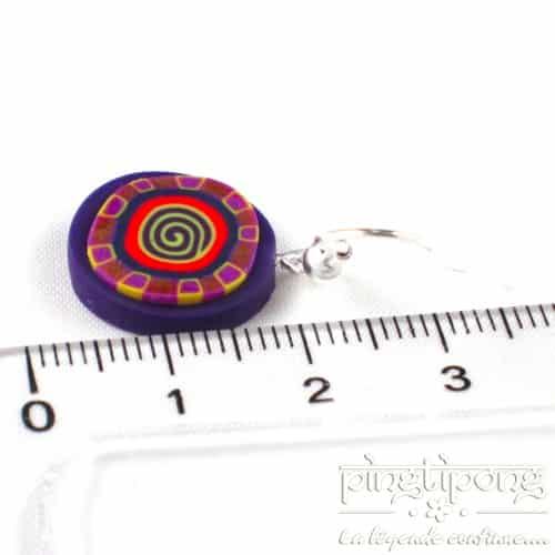 boucles pendantes pastacuita spirale violettes