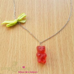 Collier gourmand ourson gélifié rouge-0