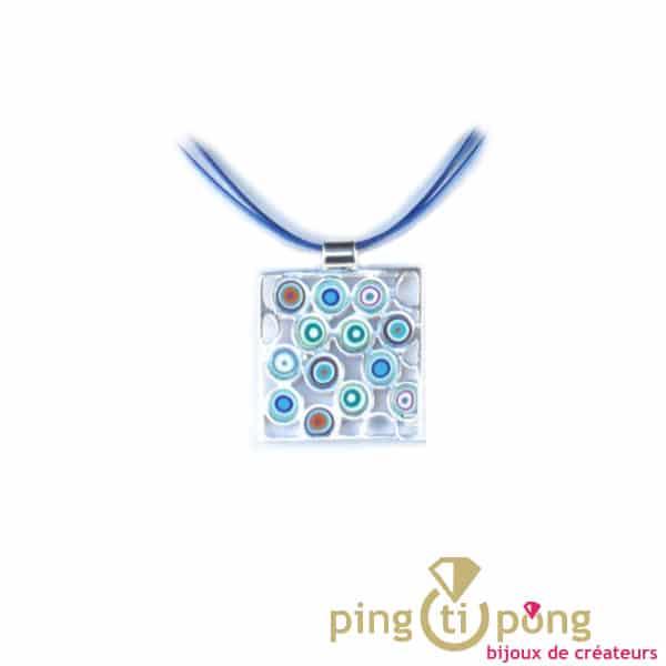 collier argent bleu Pastacuita