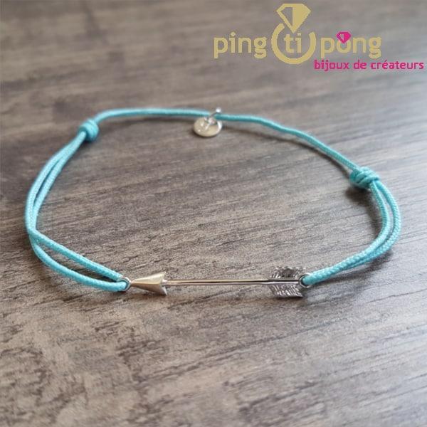 Bijou original : Bracelet flèche argent rhodié et lacette O. LAFOND