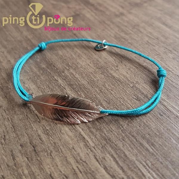 Bracelet lacette plume turquoise L'avare