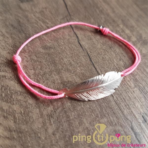 Bracelet lacette plume rose L'avare