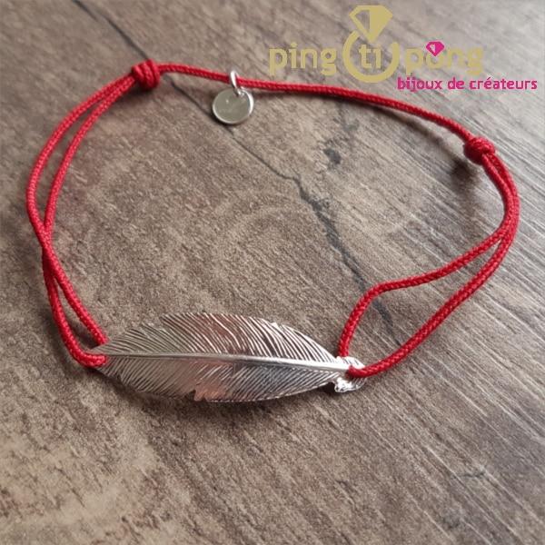 Bijou en argent : Bracelet lacette plume rouge en argent rhodié de L'avare