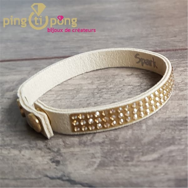 Bracelet Spark alcantara® beige et cristal de swarovski® or sur 3 rangs-0