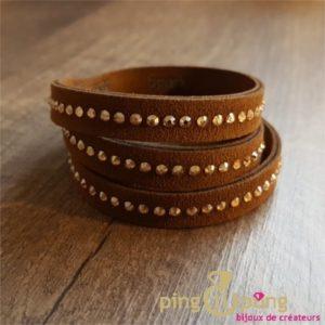 Bracelet SPARK alcantara® et cristaux de swarovski® marron et or -0