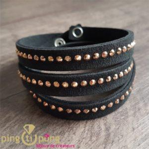 Bracelet noir Spark alcantara et cristal de swarovski or rose-0