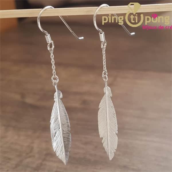 Boucle d'oreille plume en argent - bijou argent femme - L'AVARE bijoux-0
