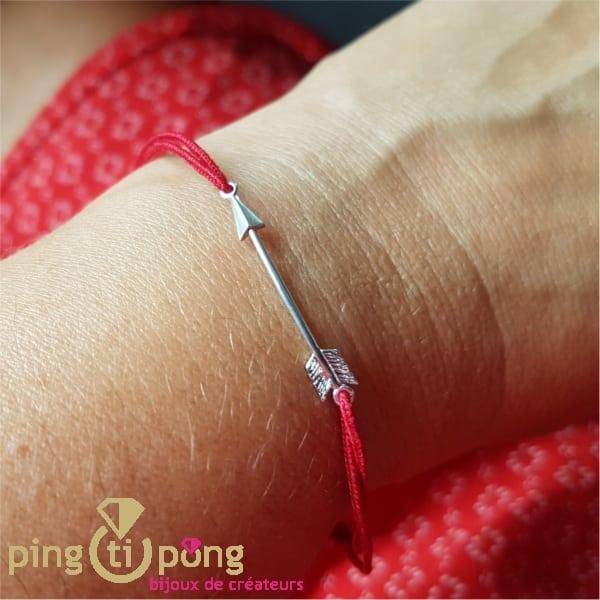 Flèche argent rhodié et lien rouge - L'AVARE bijoux-0