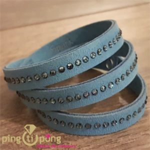 Bracelet SPARK 3 tours en alcantara® et cristaux de Swarovski® bleu-0