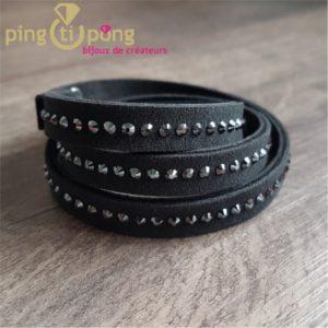 Bracelet Spark alcantara et cristal de swarovski noir -0