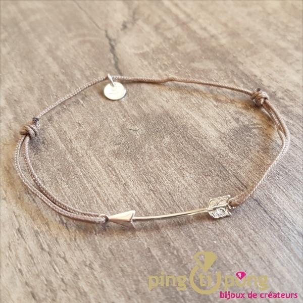 """Bracelet lien taupe et motif """"flèche"""" en argent 925 - L'AVARE bijoux-0"""