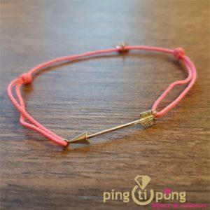 """Bracelet """"fléche"""" en argent 925 rhodié et lien rose- L'AVARE bijoux-0"""