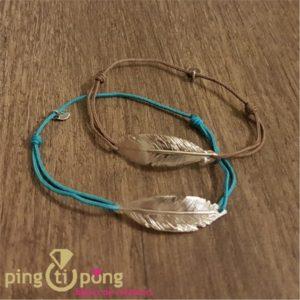 Bijou plume taupe - Bracelet argent femme - L'AVARE bijoux-0