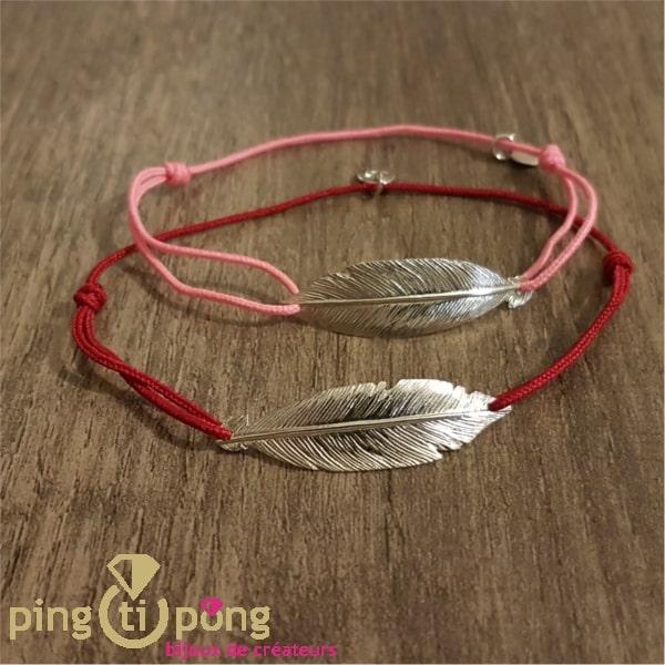 Bijoux plume rouge - Bracelet argent femme - L'AVARE bijoux-0
