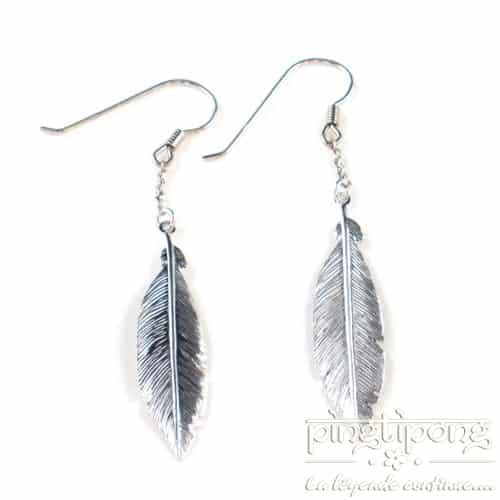 bijoux en argent boucle d'oreille plume de L by L'avare