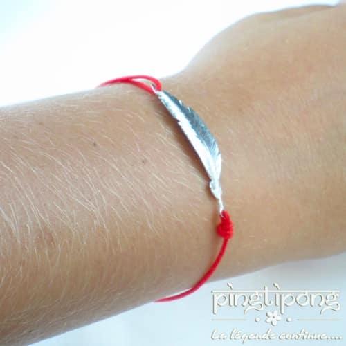 bracelet en argent plume rouge de L by L'avare