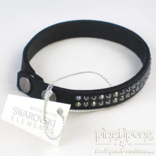 bracelet spark noir alcantara et swarovski noirs