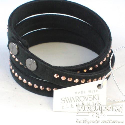 bracelet noir en alcantara et cristaux de swarovski or rose