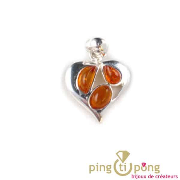 coeur ambre et argent
