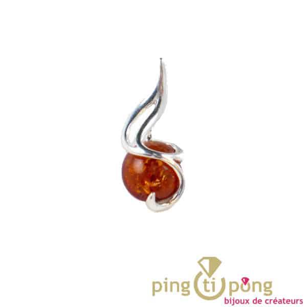 Virgule pendentif en ambre cognac