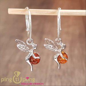 Boucles d'oreilles Balticambre fée clochette en argent tenant une perle d'ambre en dormeuses Balticambre-0