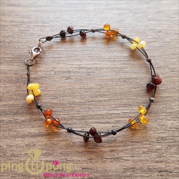 Bracelet Balticambre petites perles de 4 couleurs d'Ambre et argent-0