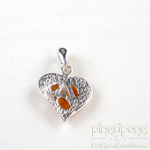 pendentif en ambre et argent coeur orange cognac