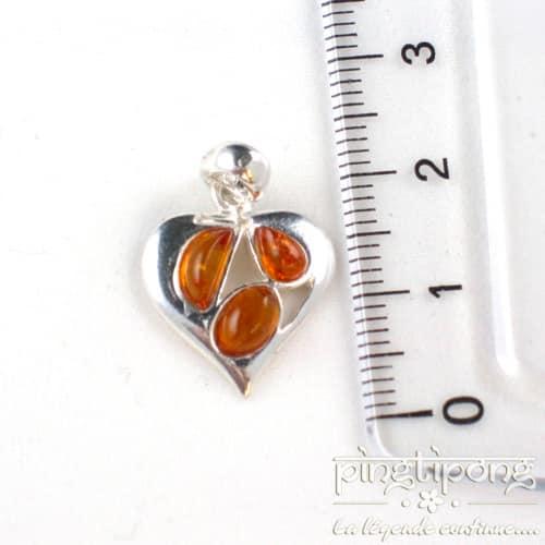 bijoux en ambre et argent coeur orange cognac