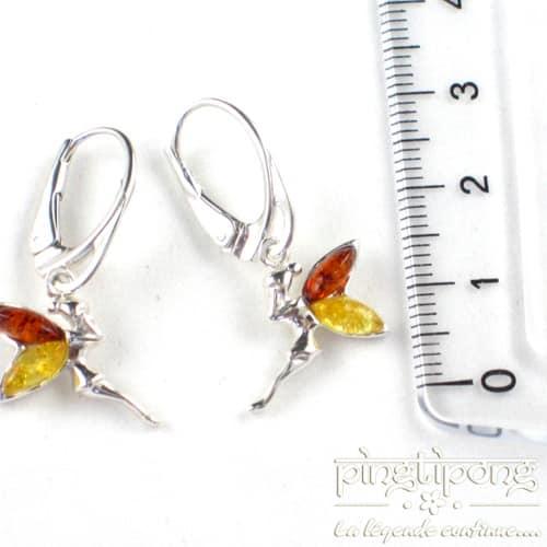 bijou ambre 2 couleurs boucle d oreille dormeuse