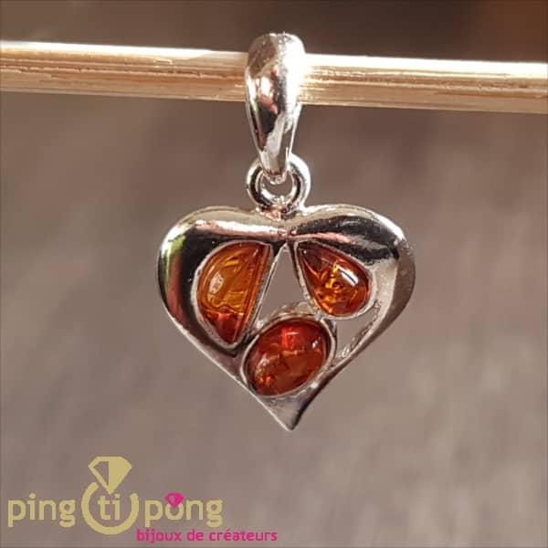 Pendentif Balticambre coeur en argent et ambre orange-0
